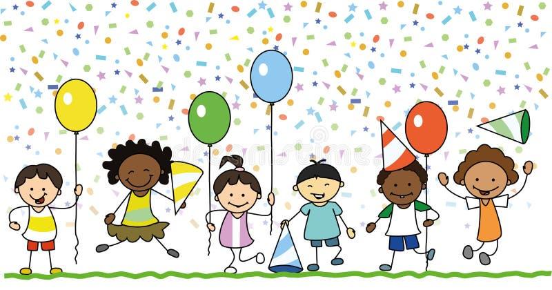 Grupa szczęśliwi dzieciaki ma zabawę na przyjęciu urodzinowym ilustracja wektor