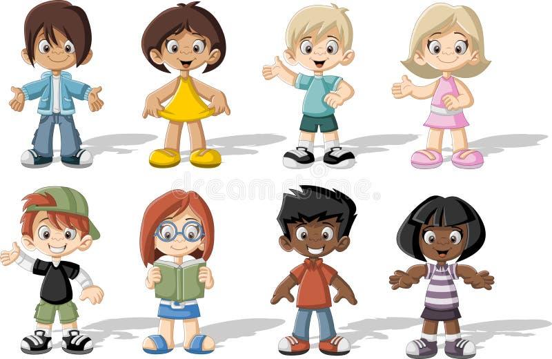 Grupa szczęśliwi kreskówek dzieci royalty ilustracja