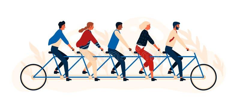 Grupa szczęśliwi ludzie lub przyjaciele jedzie tandemowego bicykl lub quint Młody uśmiechnięty mężczyzn i kobiet pedałuje quintbi ilustracja wektor
