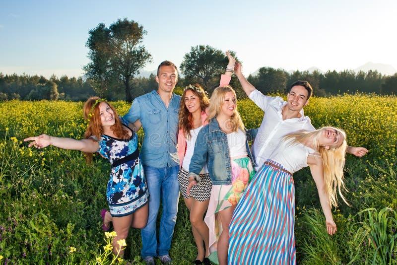 Grupa szczęśliwi młodzi ludzie pozuje w rapeseed obraz stock