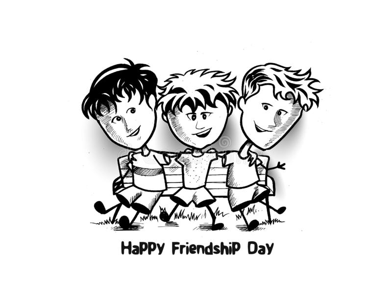 Grupa szczęśliwi przyjaciele cieszy się przyjaźń dzień Kreskówki ręki bębeny ilustracja wektor