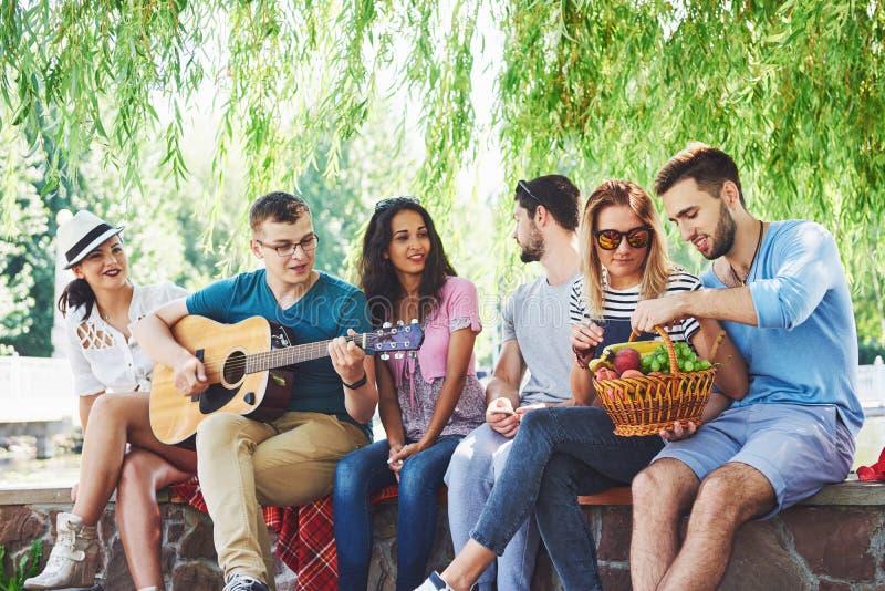 Grupa szczęśliwi przyjaciele z gitarą Podczas gdy jeden one bawić się gitarę i inny dają on round aplauz obraz royalty free