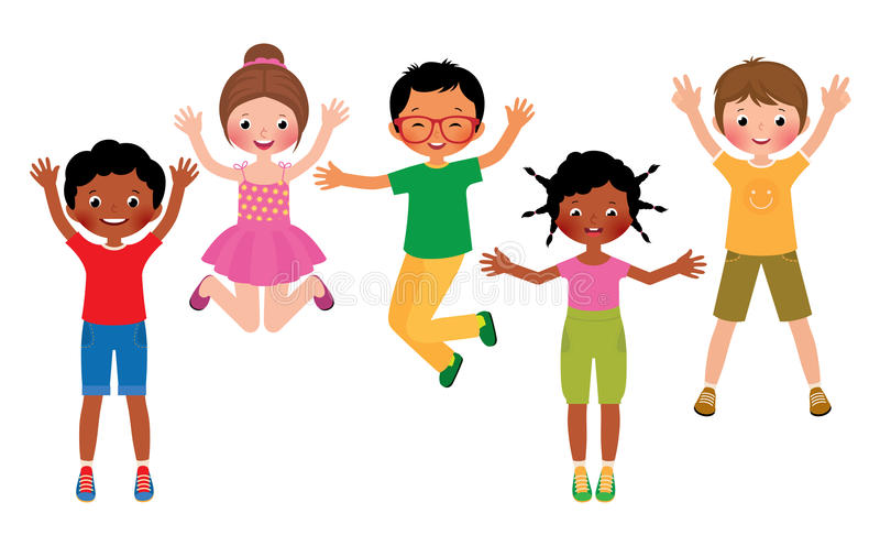 Grupa szczęśliwi skokowi dzieci odizolowywający na białym tle ilustracji