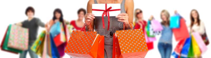 Grupa szczęśliwi zakupów klienci obraz royalty free