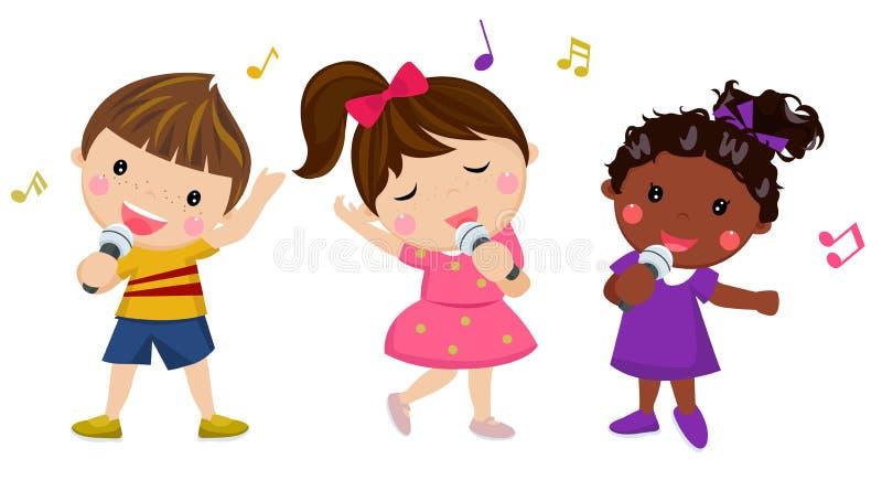 Grupa szczęśliwy dzieci śpiewać ilustracja wektor