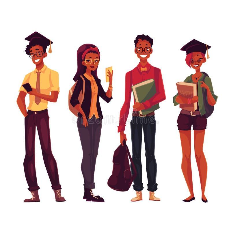 Grupa szkoła wyższa, studenci uniwersytetu z książkami i telefony, ilustracji