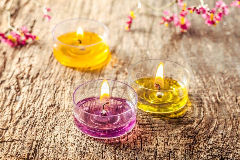 Grupa trzy herbaty świeczki światła fotografia royalty free