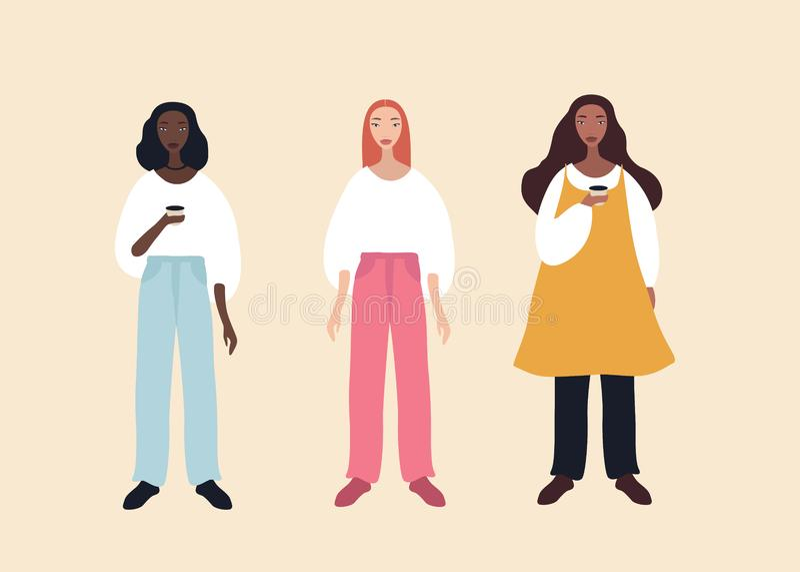 Grupa trzy kresk?wki kobiety charakter?w pi?knego eleganckiego afroameryka?skiego pochodzenia etnicznego caucasian mieszanka i po ilustracji