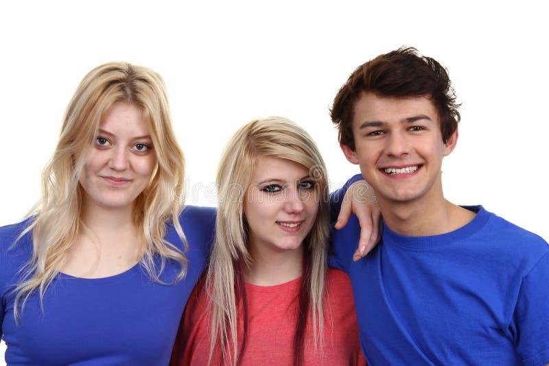 Grupa trzy nastolatka obrazy royalty free