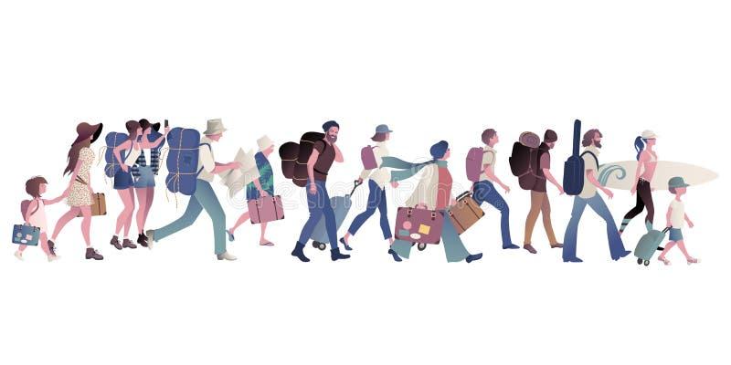 Grupa turyści chodzi walizki, plecaki, mapę, gitarę i surfboard przewożenia, royalty ilustracja