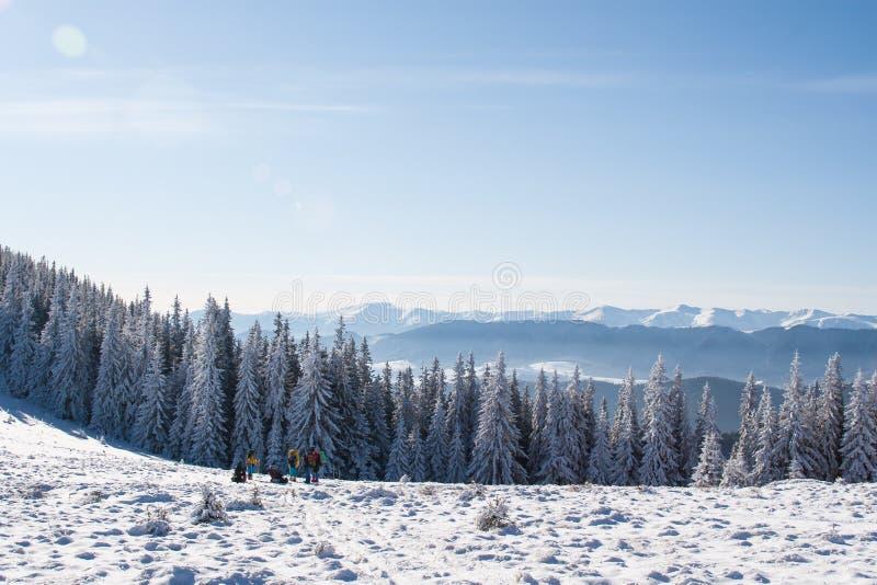 Grupa turyści na śnieżystym wzgórzu fotografia stock