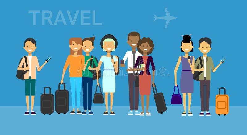 Grupa turyści Z torbami Podróżuje Na Lotniczych mieszanki rasy podróżników mężczyzna I kobietach Nad Błękitnym tłem Z samolotem ilustracji
