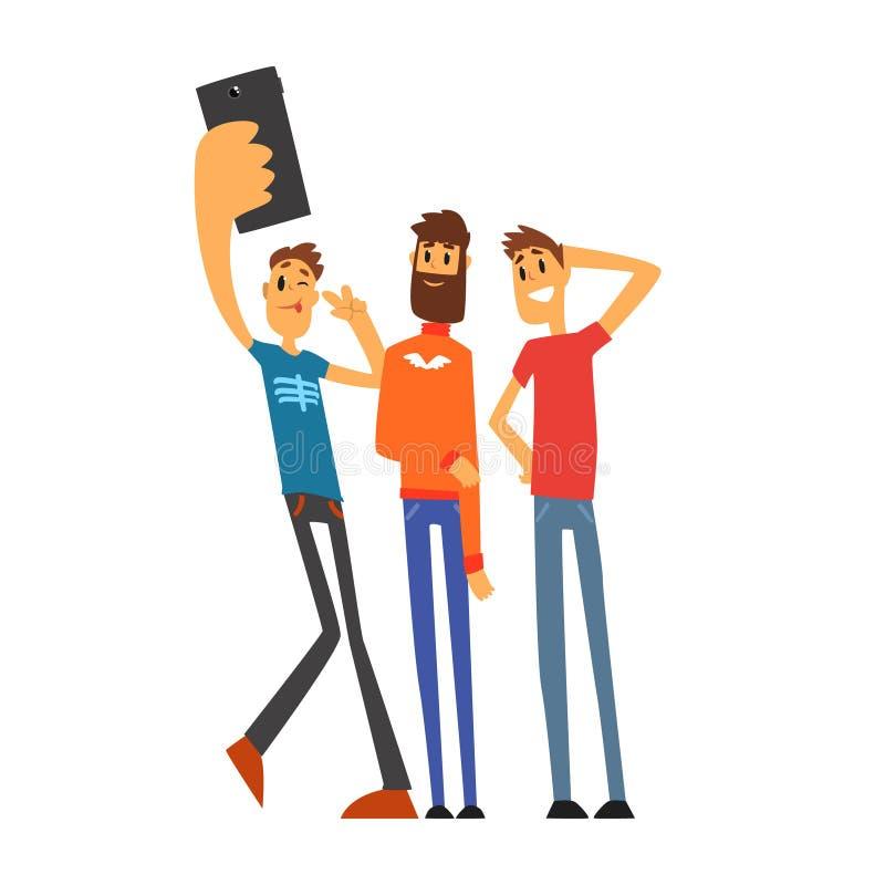 Grupa uśmiechnięci męscy przyjaciele bierze selfie fotografii kreskówki wektoru ilustrację ilustracja wektor