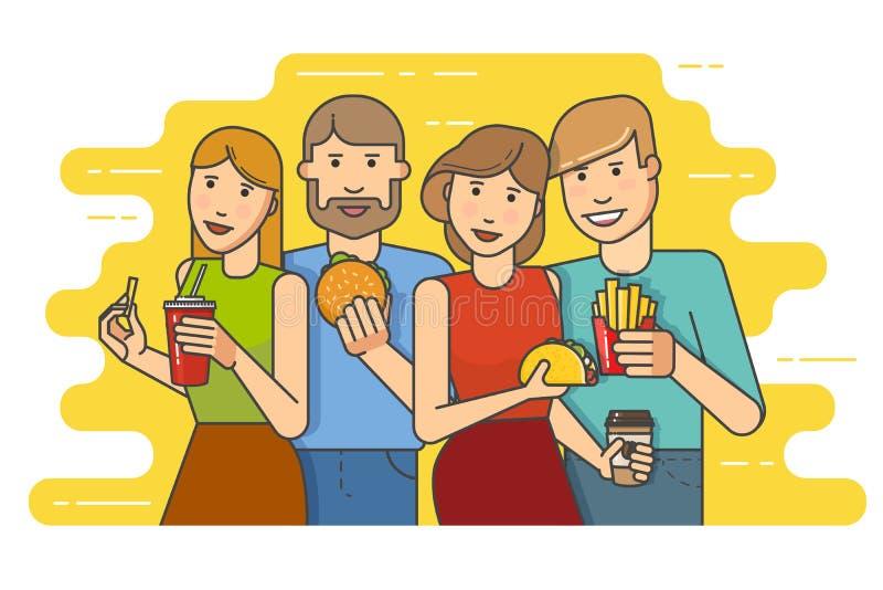 Grupa uśmiechnięci przyjaciele z fastem food ilustracji