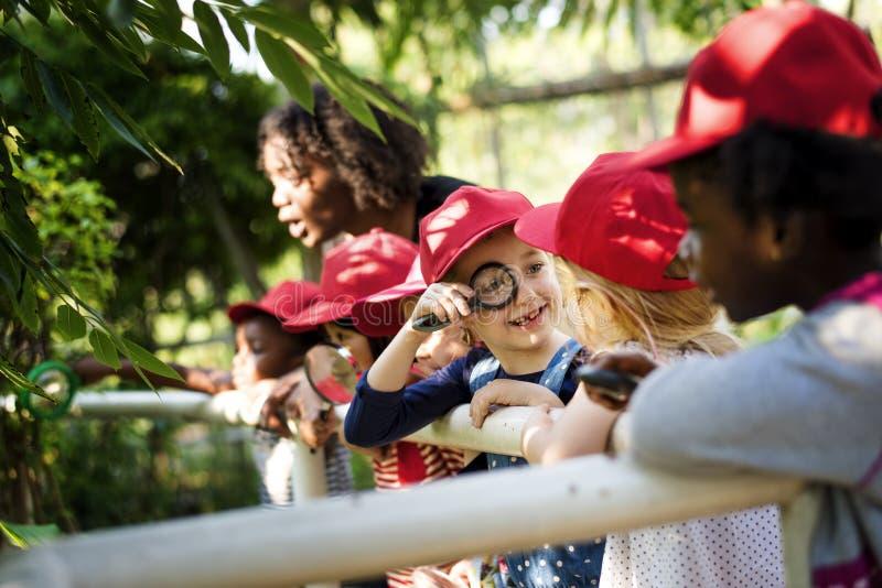 Grupa uczeń jest w śródpolnej wycieczce obraz royalty free