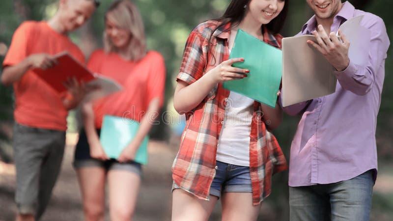 Grupa ucznie dyskutuje egzamin kwestionuje pozycj? w parku fotografia stock