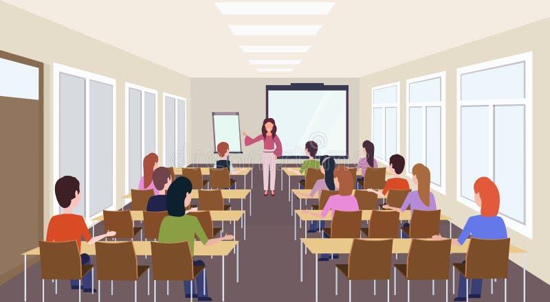 Grupa ucznie słucha żeńskiego nauczyciela szkolenia prezentacji spotkania sali konferencyjnej wnętrza wykładu nowożytnego konwers royalty ilustracja