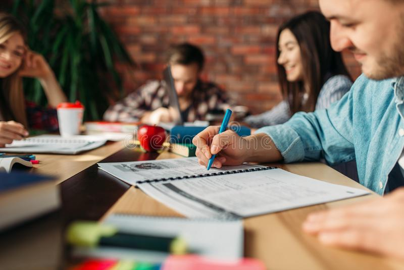 Grupa ucznie studiuje przy sto?em obraz stock