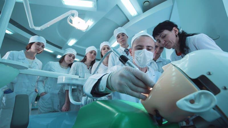 Grupa ucznie w stomatologicznym gabinecie obrazy royalty free