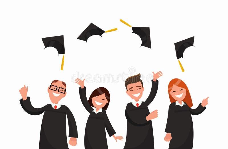 Grupa uniwersyteccy absolwenci w czarnych togach rzuca up nakrętki ilustracji