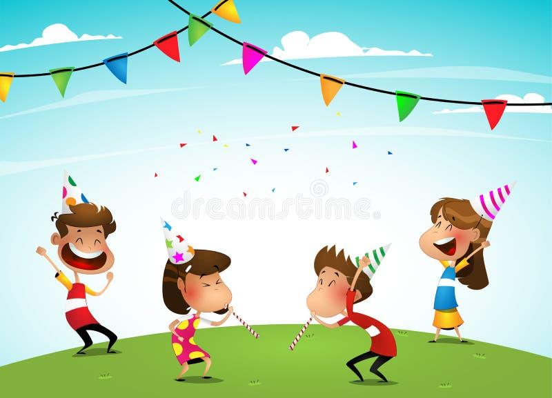 Grupa uroczy dzieciaki ma zabawę przy przyjęciem urodzinowym ilustracja wektor