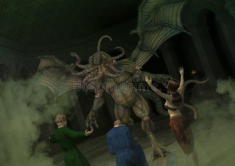 Grupa uwielbia wielkiego potwora Cthulhu kultysta ilustracja wektor