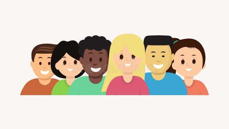 Grupa wektorowi kreskówki twarzy młodzi ludzie ustawiający royalty ilustracja