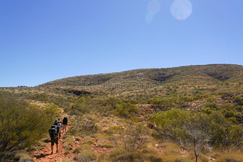 grupa wycieczkowicze na sposobie wierzcho?ek g?ra Sonder w?a?nie outside Alice Springs, Zachodni MacDonnel park narodowy, Austral obraz royalty free