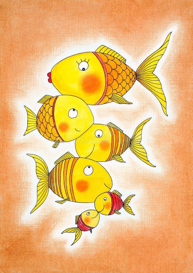 Grupa złoto ryba, dziecko rysunek, akwarela obraz ilustracji