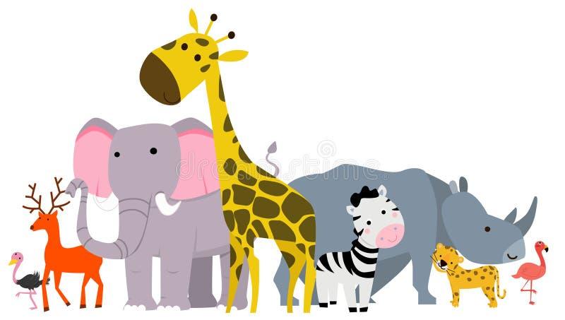 Grupa zwierzę safari ilustracja wektor