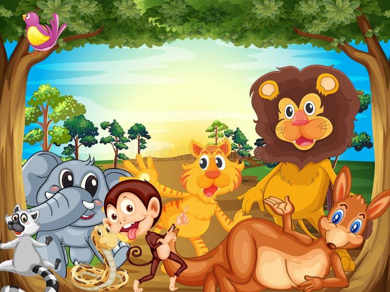 Grupa zwierzęta relaksuje pod drzewem ilustracji