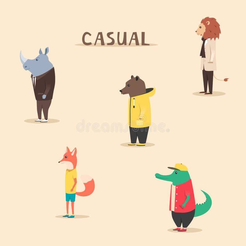 Grupa zwierzęta w odziewa przypadkowe styl obcy kreskówki kota ucieczek ilustraci dachu wektor ilustracja wektor