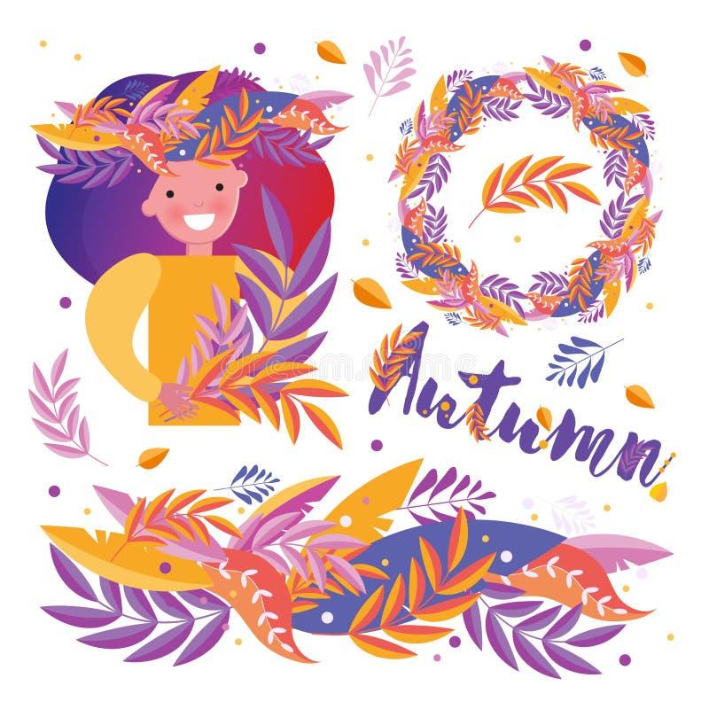 Grupo à moda de elementos, beira do outono, grinalda, ornamento, uma menina em uma grinalda que guarda as folhas em suas mãos com ilustração royalty free
