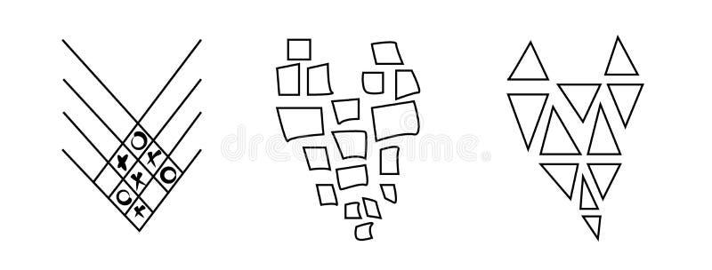 Grupo à moda, moderno, abstrato de corações preto e branco isolados no fundo branco Vetor no estilo gráfico ilustração do vetor
