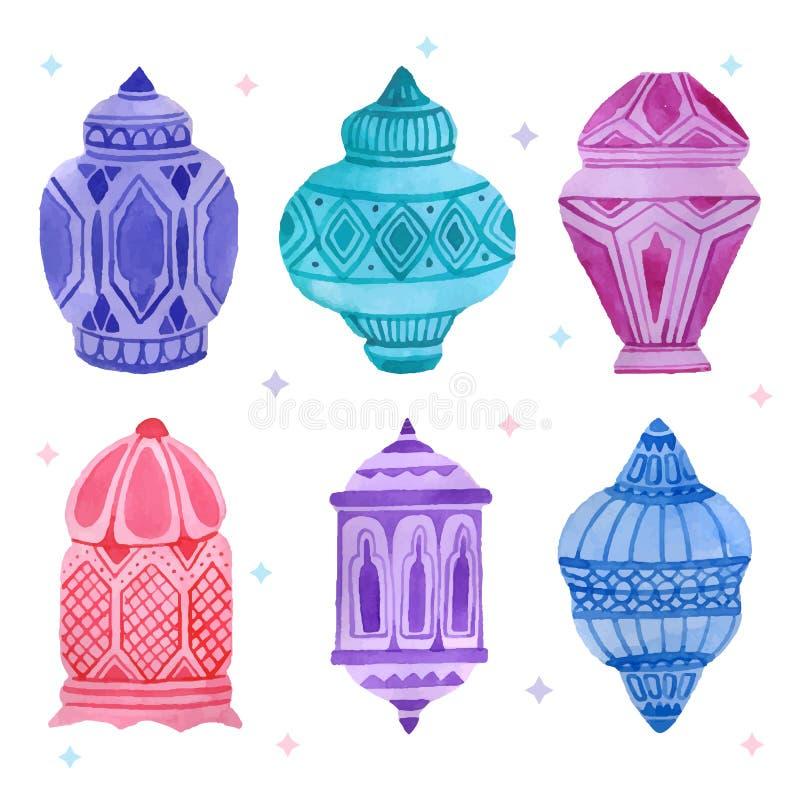 Grupo árabe da lâmpada da aquarela ilustração do vetor
