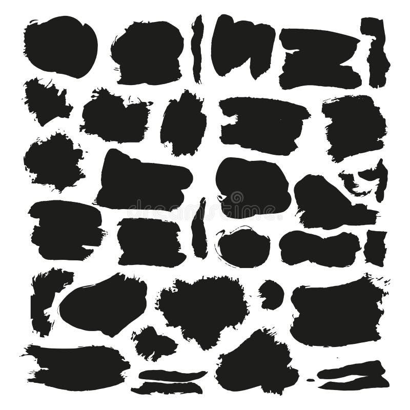 Grupo áspero preto do vetor dos cursos da escova do Grunge Preto áspero da escova abstrata, ilustração da coleção da escova do cu ilustração do vetor