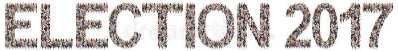 Grupo étnico da política das eleições 2017 do voto da eleição multi de peop imagens de stock royalty free