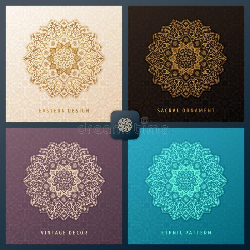 Grupo étnico do convite do vetor com elemento do projeto da mandala Molde quadrado da etiqueta Teste padrão floral luxuoso do wea ilustração do vetor