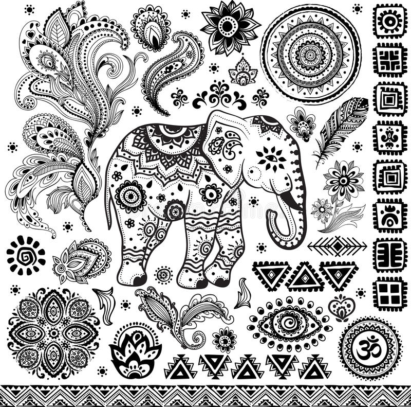 Grupo étnico do teste padrão do vintage tribal ilustração stock