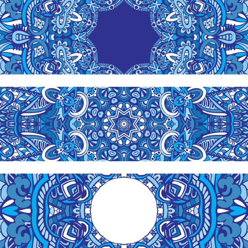 Grupo étnico geométrico azul decorativo tribal festivo da bandeira ilustração do vetor