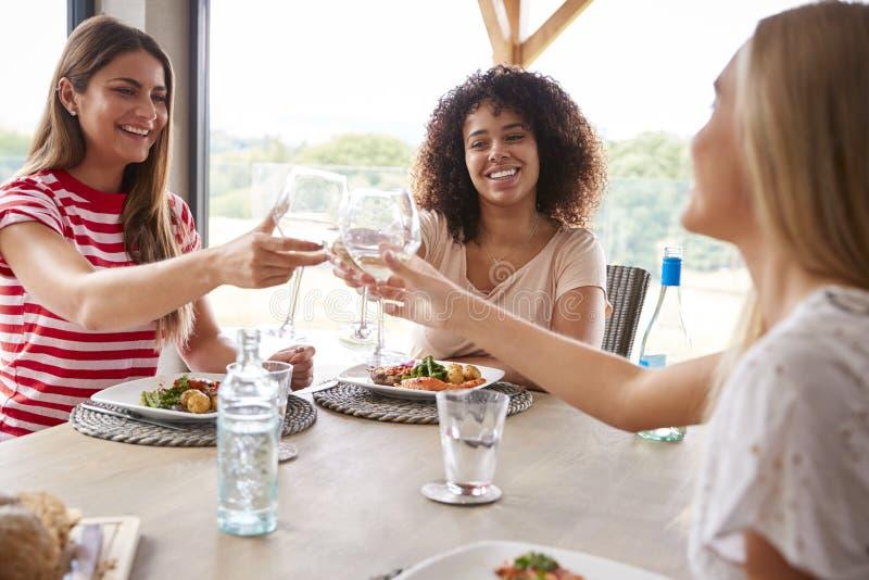 Grupo étnico multi de tres mujeres adultas jovenes que hacen una tostada, celebrando con las copas de vino durante un partido de  foto de archivo
