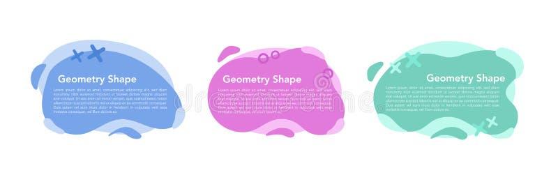 Grupo abstrato colorido líquido geométrico das formas Fundo branco isolado do projeto moderno ilustração stock