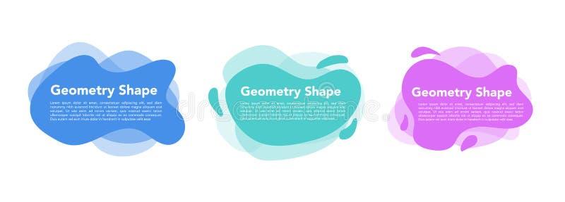 Grupo abstrato colorido líquido geométrico das formas Fundo branco isolado do projeto moderno ilustração royalty free
