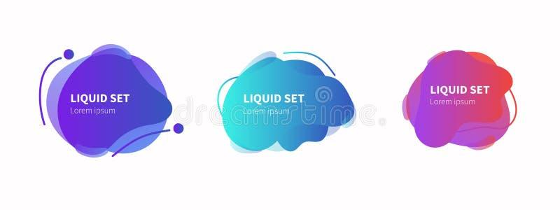 Grupo abstrato colorido líquido geométrico das formas Fundo branco isolado do projeto moderno ilustração do vetor