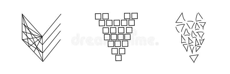 Grupo abstrato de corações Corações das linhas, quadrados, triângulos no estilo gráfico Vetor preto e branco ilustração royalty free