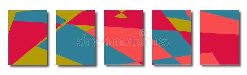 Grupo abstrato de fundos com triângulos caóticos coloridos, polígono ilustração do vetor