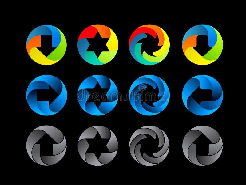 Grupo abstrato do ícone da cor ilustração do vetor