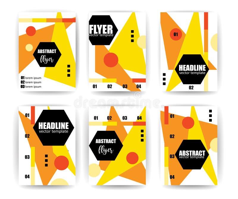 Grupo abstrato do fundo Linhas e formas geométricas para insetos, folhetos, comprovantes, folhetos, apresentações, informes anuai ilustração stock
