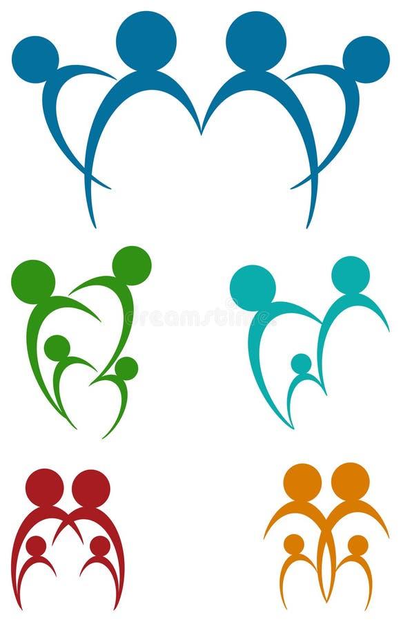 Grupo abstrato do logotipo da família ilustração royalty free