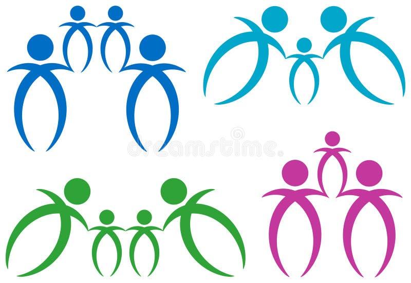 Grupo abstrato do logotipo da família ilustração stock